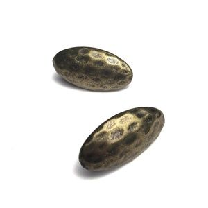 Hammered Antiqued Bronze Oval Post Earrings